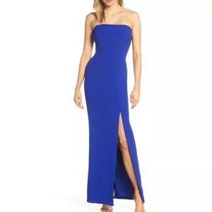 Eliza J Blue Strapless Crepe Gown Dress Cocktail
